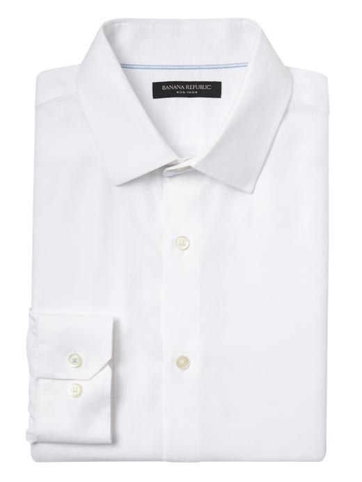 Erkek Beyaz Grant Slim-Fit Ütü Gerektirmeyen Streç Gömlek