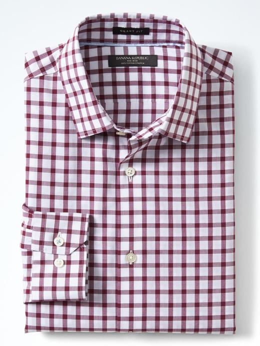 Erkek kırmızı Camden Slim-Fit ütü gerektirmeyen gömlek