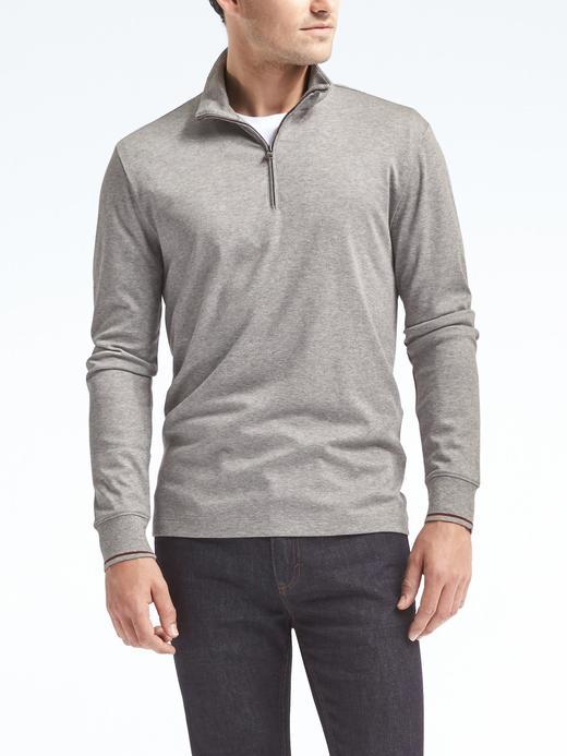 Erkek açık gri Luxury-Touch Yarım Fermuarlı Sweatshirt