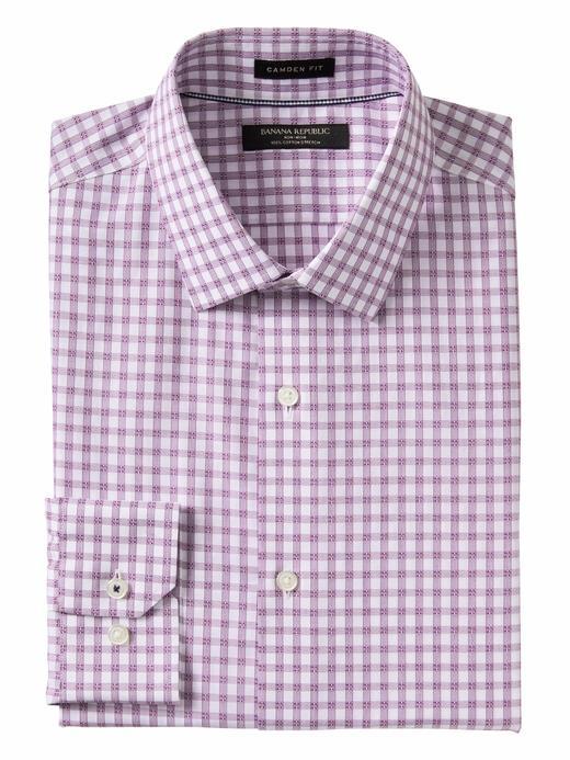 lila Camden Standard-Fit Ütü Gerektirmeyen Streç Ekose Gömlek