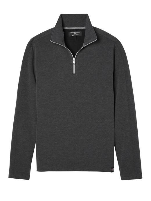 Erkek siyah Polartec® Yarım Fermuarlı Sweatshirt