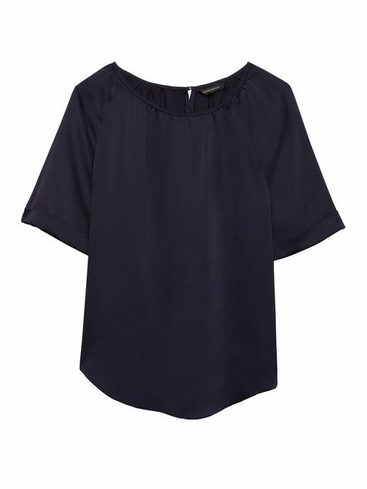Kadın lacivert Kısa Kollu Yuvarlak Yaka Saten T-Shirt