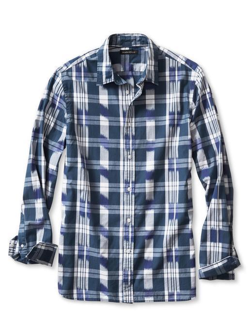 Erkek mavi Camden-Fit desenli gömlek