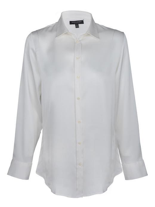 Kadın beyaz Uzun Kollu Dillon Fit Bluz