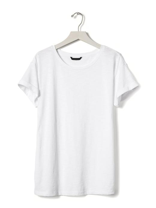 Kıvrık kollu bisiklet yaka t-shirt