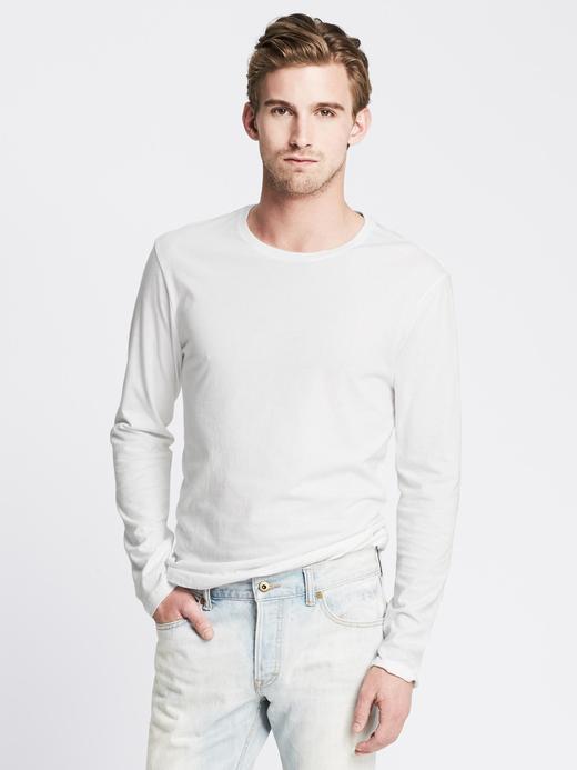 Saf Pamuklu Uzun Kollu Sıfır Yaka T-Shirt