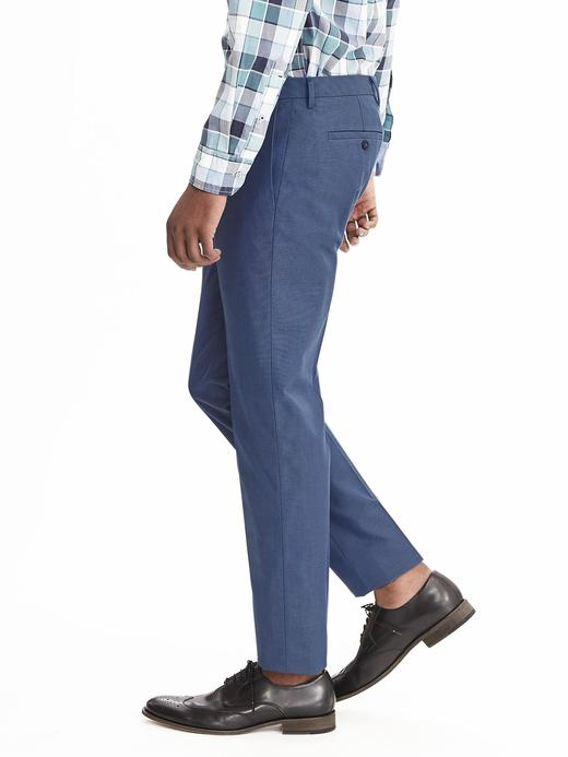 Erkek mavi Modern Slim ütü gerektirmeyen pantolon