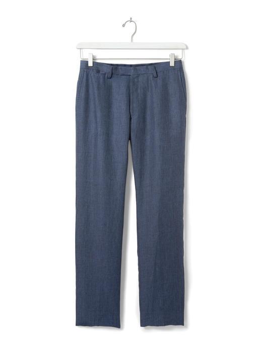 Modern Slim keten takım elbise pantolonu