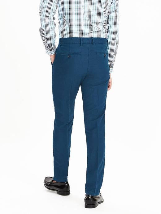 Erkek petrol mavisi Aiden Slim keten pantolon