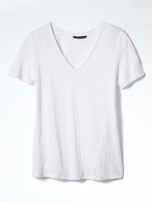Kısa Kollu V Yaka Keten T-Shirt