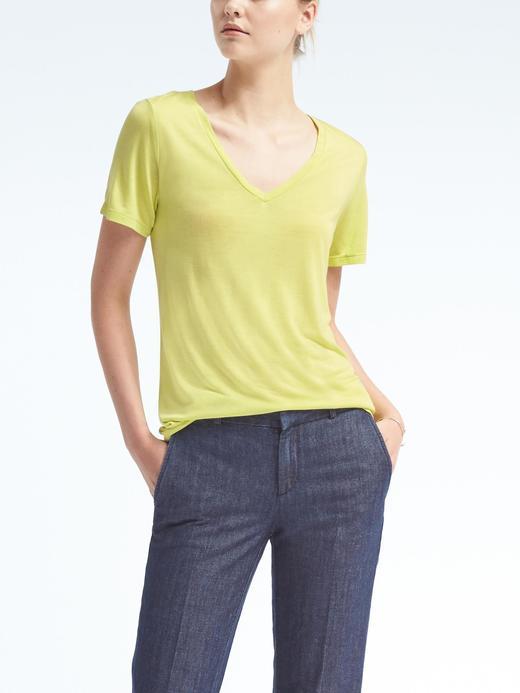 Kadın limon Kısa kollu V yaka modal t-shirt