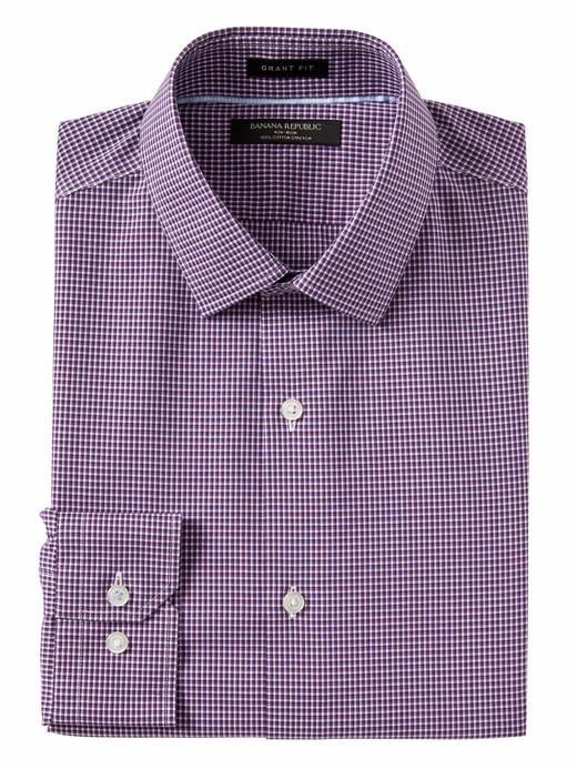 mor Grant Slim-Fit ÜtüGerektirmeyen Streç Ekose Gömlek