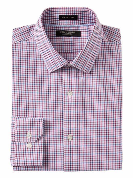 Grant Slim-Fit Ütü Gerektirmeyen Streç Ekose Gömlek