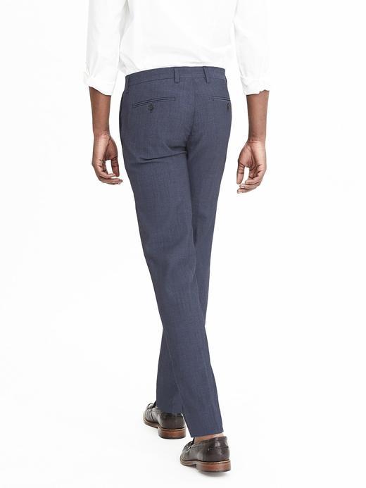 Erkek mavi desenli Slim Nanotex yün pantolon