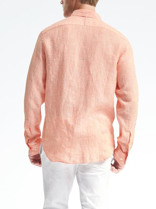 Erkek turuncu Camden-Fit keten gömlek