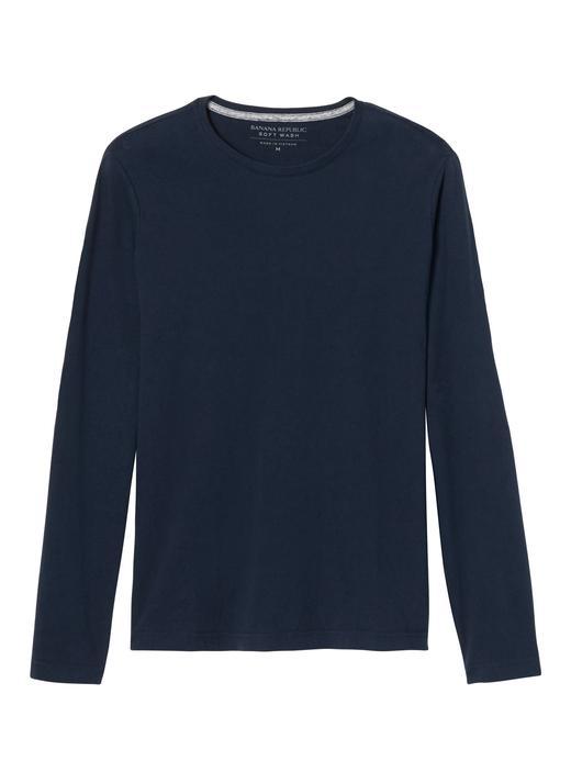 lacivert Soft-Wash uzun kollu t-shirt