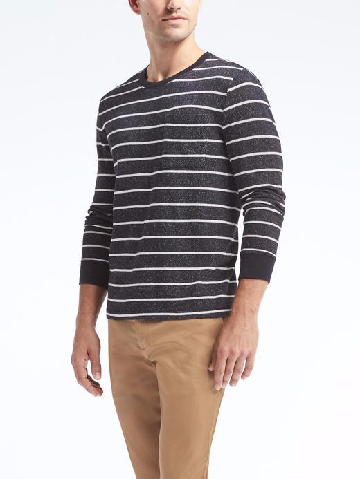 Çizgili sıfır yaka uzun kollu t-shirt