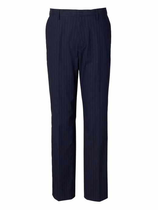 Slim Ütü Gerektirmeyen Çizgili Streç Pantolon
