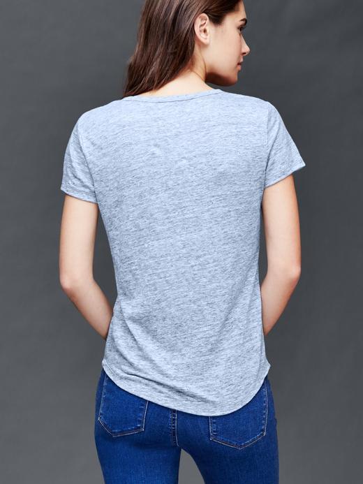 Kadın açık turuncu Keten V yaka t-shirt