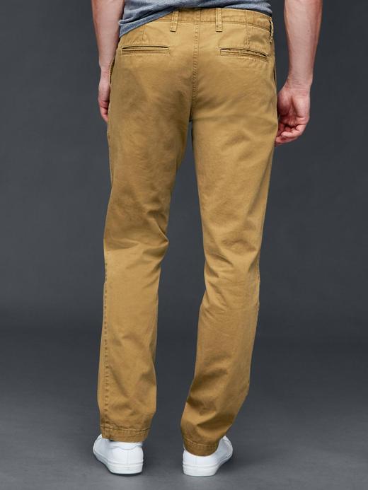 Vintage yıkamalı slim fit khaki pantolon
