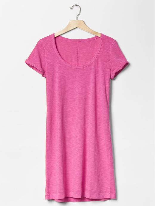 Kadın açık mavi Kıvrık kollu t-shirt elbise