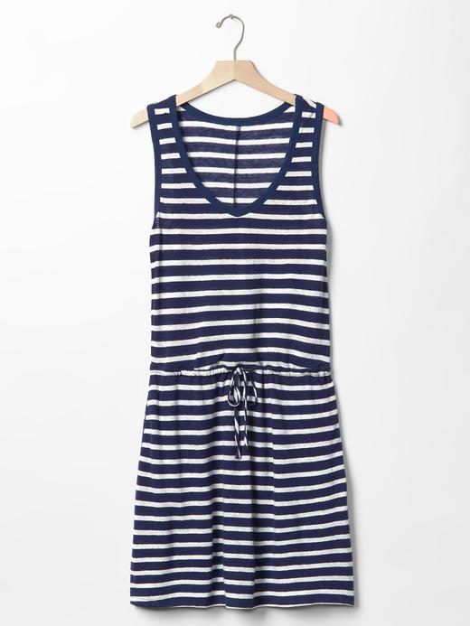 Kadın mavi/beyaz çizgili Keten-pamuk çizgili elbise