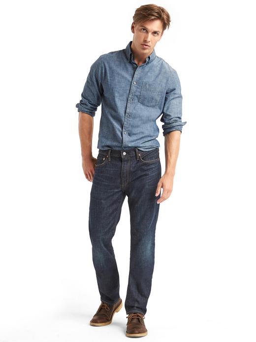 Erkek koyu indigo 1969 Straight fit jean pantolon