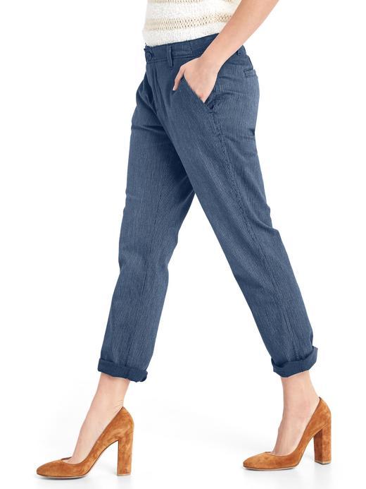 Kadın lacivert çizgili Girlfriend chino pantolon