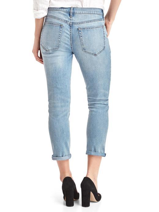 açık indigo Girlfriend eskitmeli jean pantolon