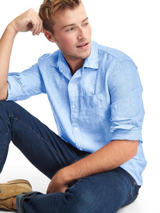 Keten-pamuk karışımlı standart fit gömlek
