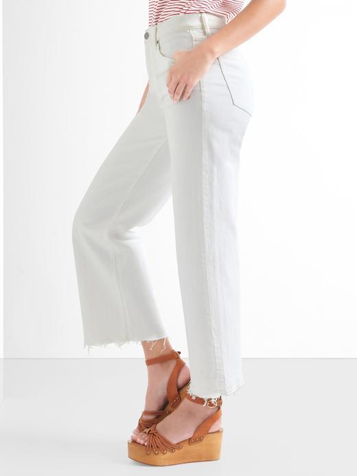 Yüksek bel geniş paçalı jean pantolon