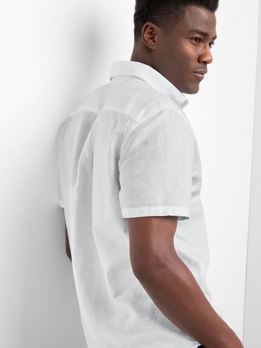 Keten-pamuk karışımlı gömlek