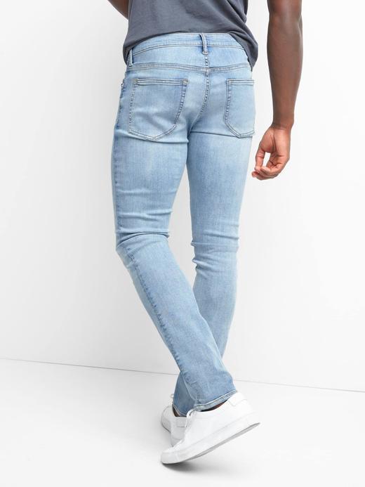 Erkek açık renk yıkama Skinny fit streç jean pantolon
