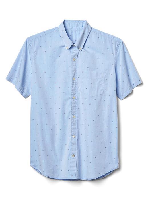 Desenli poplin kısa kollu gömlek