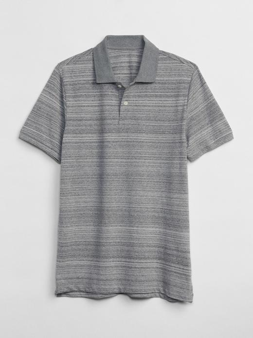 Erkek lacivert Kısa kollu streç pique polo t-shirt
