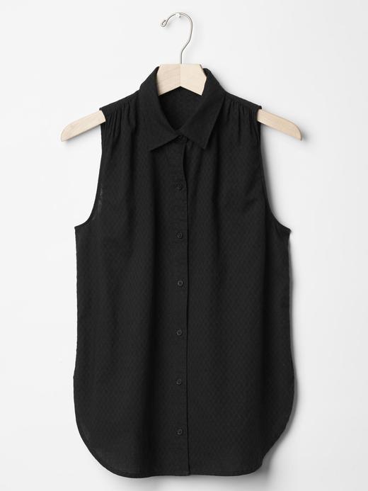 Kadın kırık beyaz Dokulu kolsuz yaka gömlek