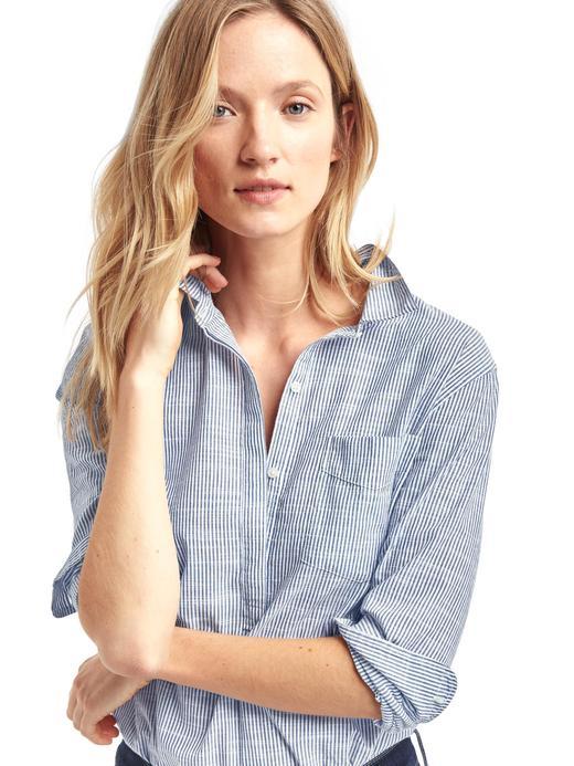 Kadın mavi çizgili Boyfriend gömlek