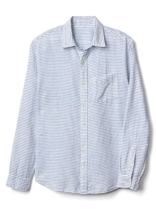 Çizgili keten-pamuk karışımlı gömlek