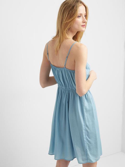 Kadın açık indigo Denim büzgülü atlet elbise
