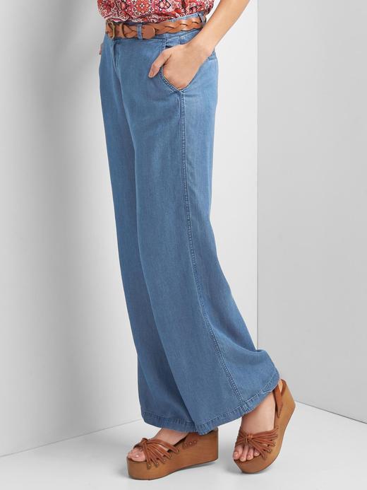 Kadın indigo Indigo TENCEL™ bol paça pantolon