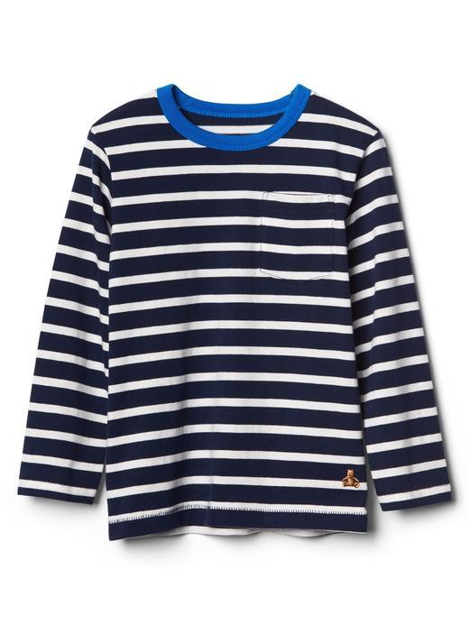 Bebek lacivert Çizgili uzun kollu t-shirt