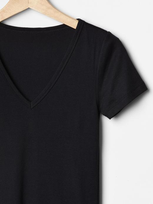 lacivert Modern V yaka t-shirt
