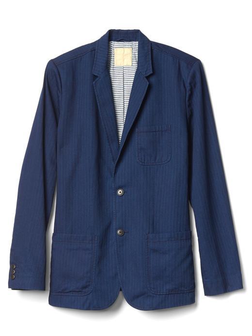 Indigo balıksırtı ceket