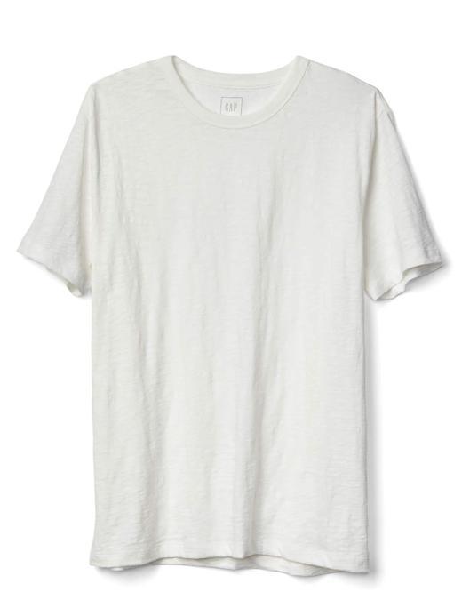 siyah Bisiklet yaka slub t-shirt