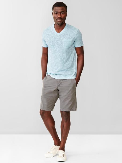 kırçıllı açık mavi Kırçıllı v yaka t-shirt