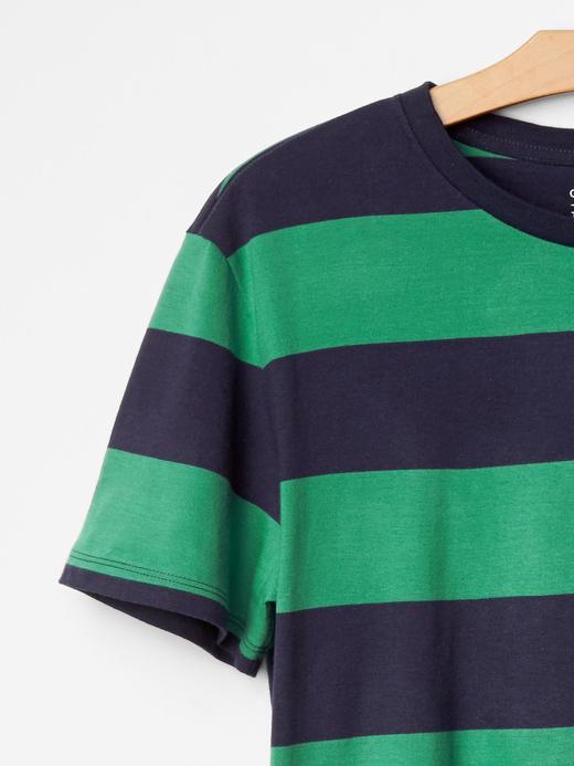 Yeşil Essential çizgili t-shirt