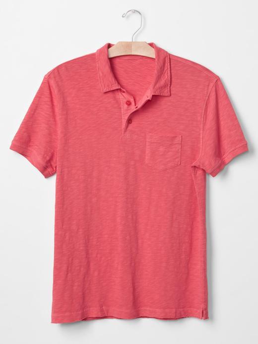 lacivert Slub polo yaka t-shirt