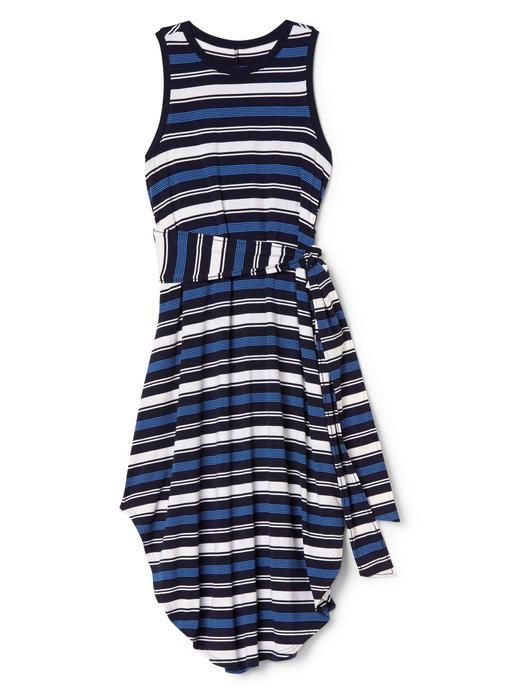 Kadın lacivert çizgili Çizgili midi elbise