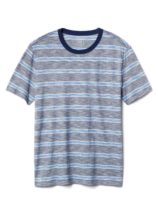 Erkek lacivert çizgili Çizgili bisiklet yaka t-shirt