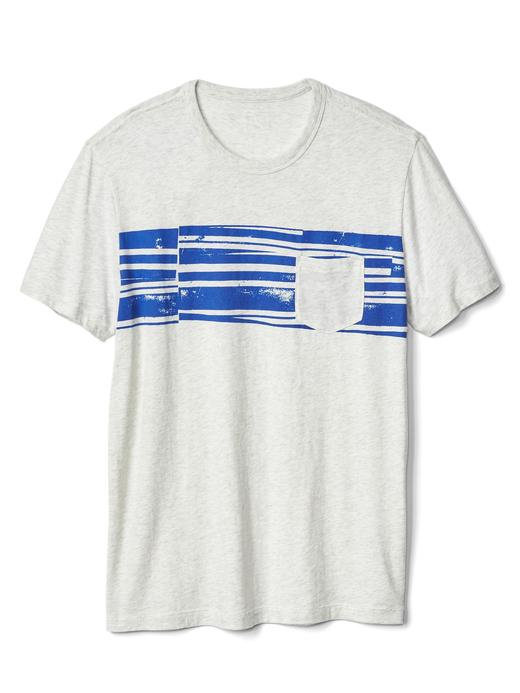 Cepli çizgili t-shirt